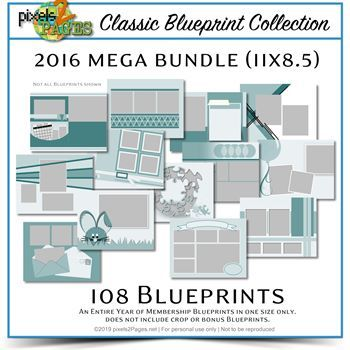 Classic Blueprint Collection 2016 Mega Bundle (11x8.5) Digital Art - Digital Scrapbooking Kits
