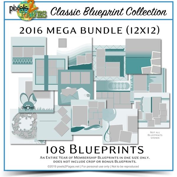 Classic Blueprint Collection 2016 Mega Bundle (12x12) Digital Art - Digital Scrapbooking Kits