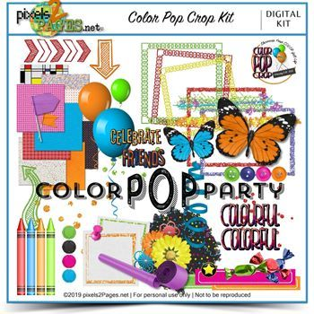 Color Pop Crop Kit Digital Art - Digital Scrapbooking Kits