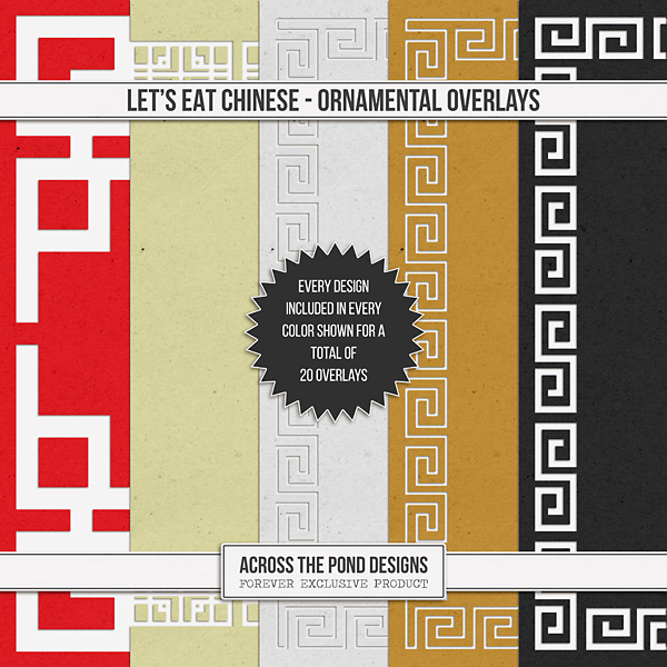 Let's Eat Chinese - Ornamental Overlays Digital Art - Digital Scrapbooking Kits