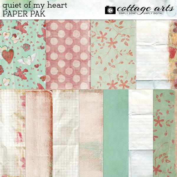 Quiet Of My Heart Paper Pak Digital Art - Digital Scrapbooking Kits