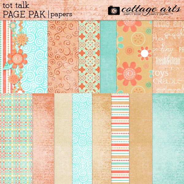 Tot Talk Paper Pak Digital Art - Digital Scrapbooking Kits