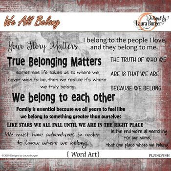 We All Belong Word Art Digital Art - Digital Scrapbooking Kits
