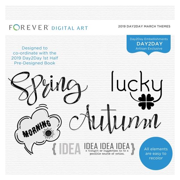 2019 Day2Day March Themes Digital Art - Digital Scrapbooking Kits