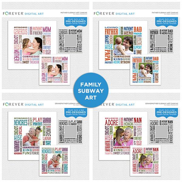 Family Subway Art Canvas Collection Digital Art - Digital Scrapbooking Kits