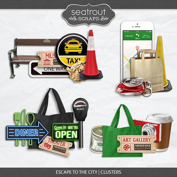 Escape To The City Clusters Digital Art - Digital Scrapbooking Kits