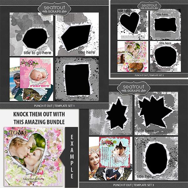 Punch It Out Template Bundle Digital Art - Digital Scrapbooking Kits