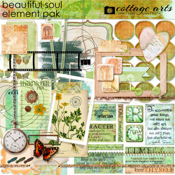 Beautiful Soul Element Pak Digital Art - Digital Scrapbooking Kits