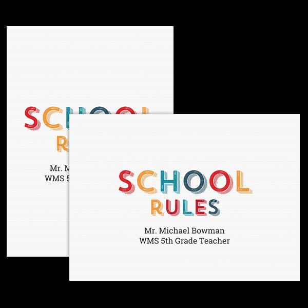 School Rules Card