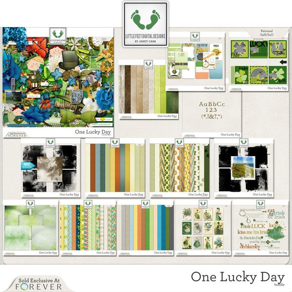 One Lucky Day Jumbo Bundle Digital Art - Digital Scrapbooking Kits