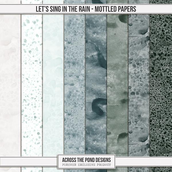 Let's Sing In The Rain - Mottled Papers Digital Art - Digital Scrapbooking Kits