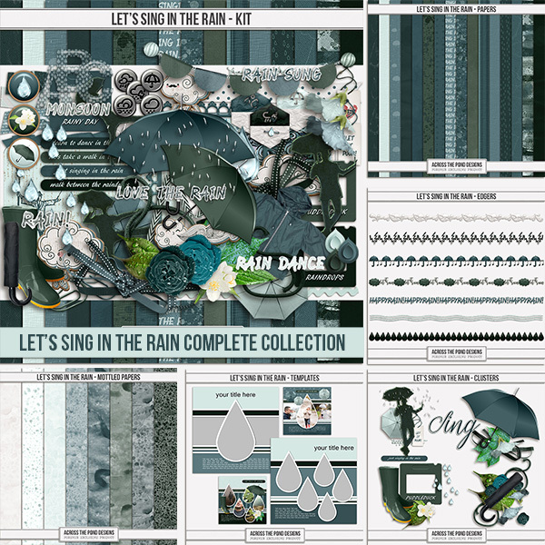Let's Sing In The Rain Complete Collection Digital Art - Digital Scrapbooking Kits