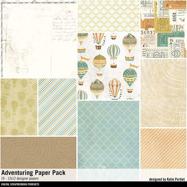 Adventuring Paper Pack Digital Art - Digital Scrapbooking Kits