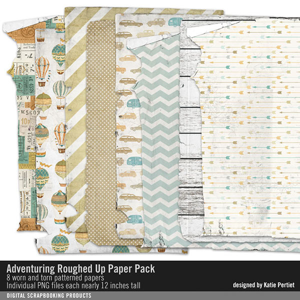 Adventuring Roughed Up Paper Pack Digital Art - Digital Scrapbooking Kits