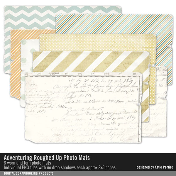 Adventuring Roughed Up Photo Mats Digital Art - Digital Scrapbooking Kits