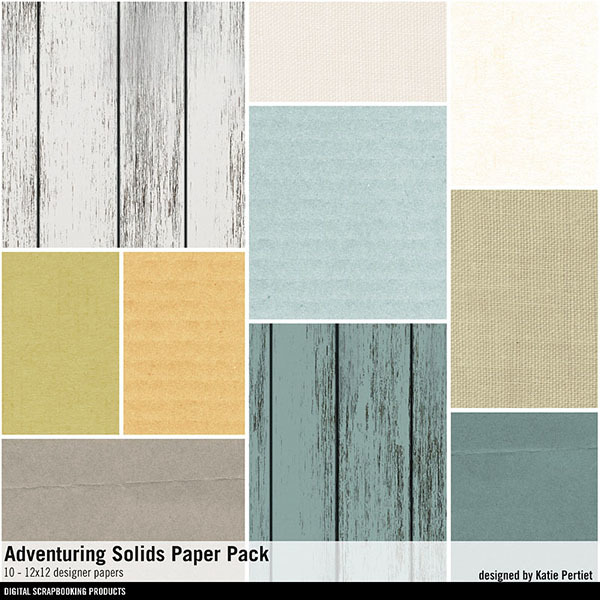 Adventuring Solids Paper Pack Digital Art - Digital Scrapbooking Kits