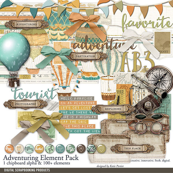 Adventuring Travel Scrapbook Embellishment Pack Digital Art - Digital Scrapbooking Kits