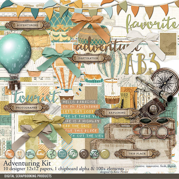 Adventuring Travel Scrapbook Kit Digital Art - Digital Scrapbooking Kits