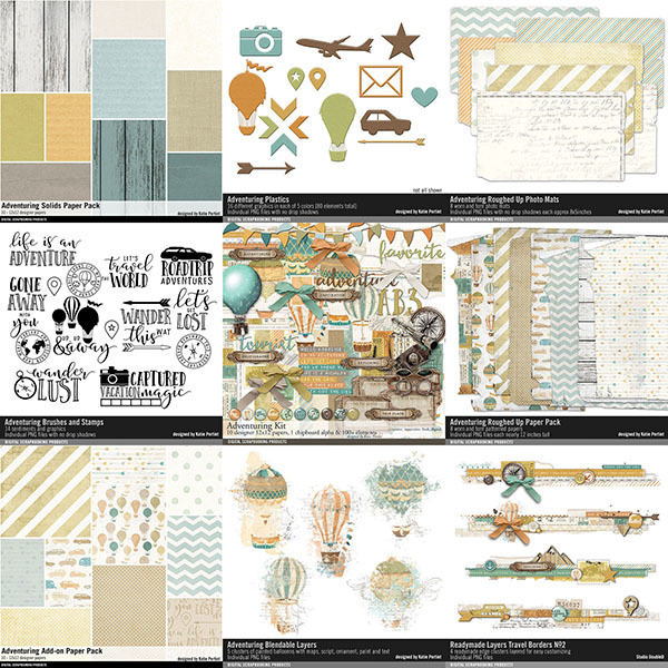 Adventuring Travel Scrapbooking Bundle Digital Art - Digital Scrapbooking Kits