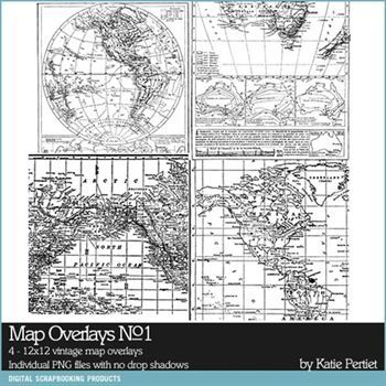 Map Overlays No. 01 Digital Art - Digital Scrapbooking Kits