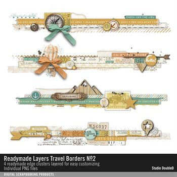Readymade Layers Travel Borders No. 02 Digital Art - Digital Scrapbooking Kits