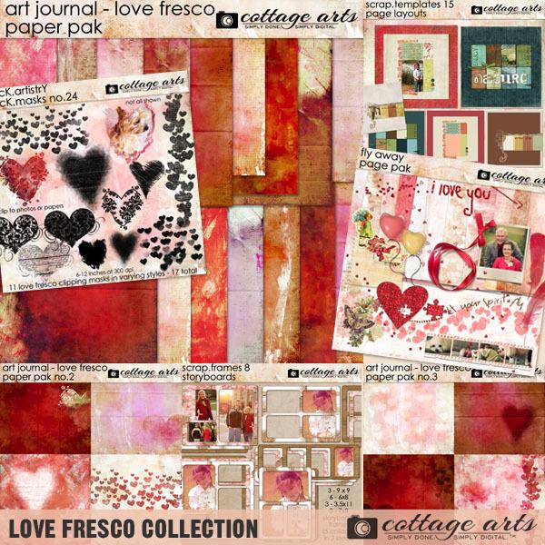 Love Fresco Collection Digital Art - Digital Scrapbooking Kits