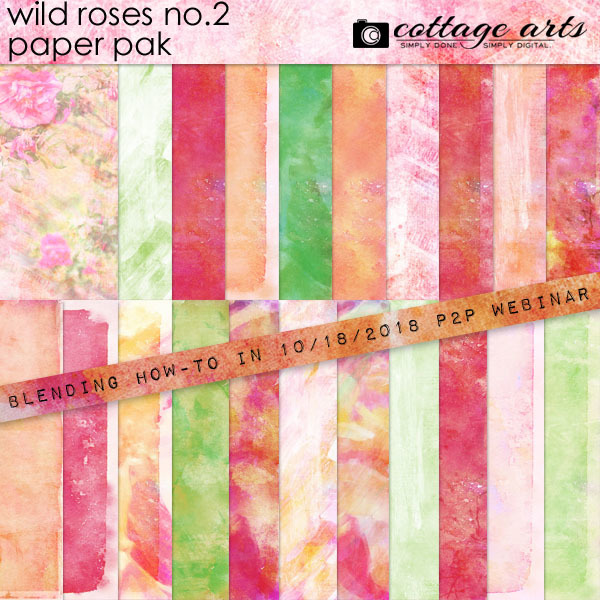 Wild Roses 2 Paper Pak Digital Art - Digital Scrapbooking Kits