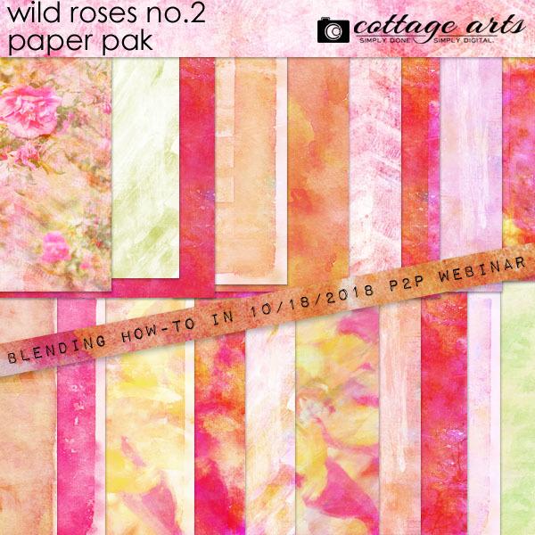 Wild Roses 2 Paper Pak Digital Art - Digital Scrapbooking Kits