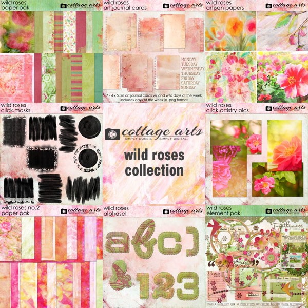 Wild Roses Collection Digital Art - Digital Scrapbooking Kits