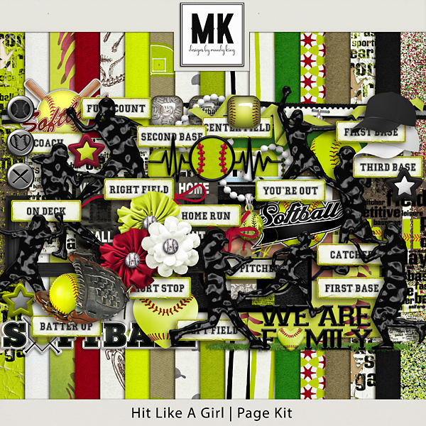 Hit Like A Girl - Page Kit Digital Art - Digital Scrapbooking Kits