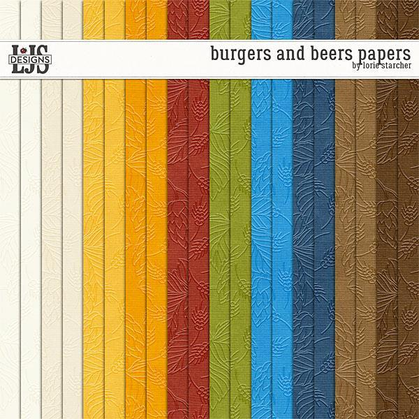 Burgers And Beers Papers Digital Art - Digital Scrapbooking Kits