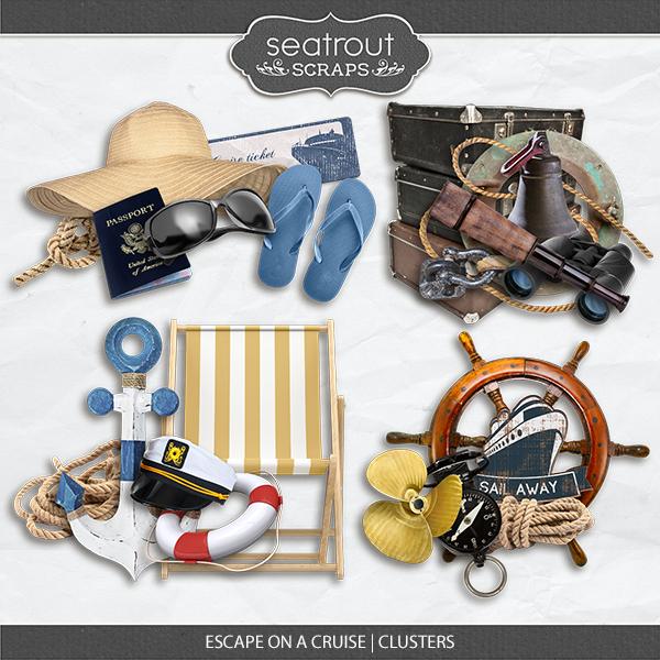 Escape On A Cruise Clusters Digital Art - Digital Scrapbooking Kits