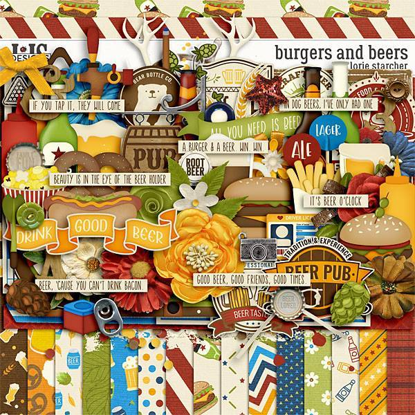 Burgers And Beers Digital Art - Digital Scrapbooking Kits