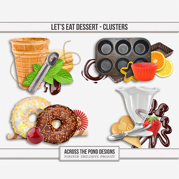 Let's Eat Dessert - Clusters Digital Art - Digital Scrapbooking Kits