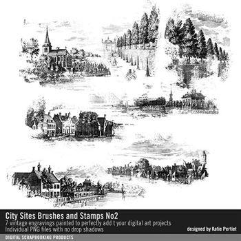 City Sites Brushes And Stamps No. 02 Digital Art - Digital Scrapbooking Kits