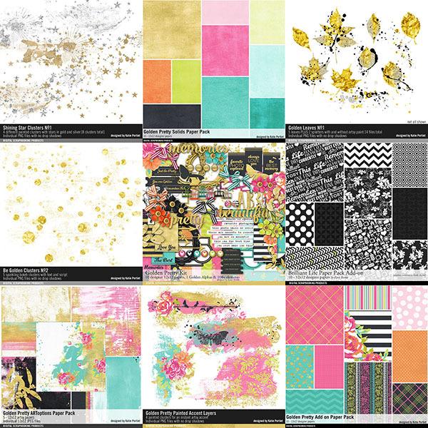 Golden Pretty Scrapbooking Bundle Digital Art - Digital Scrapbooking Kits