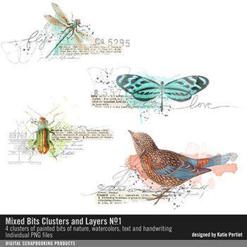 Mixed Bits Clusters And Layers No. 01 Digital Art - Digital Scrapbooking Kits