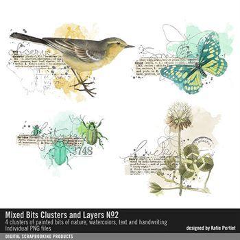 Mixed Bits Clusters And Layers No. 02 Digital Art - Digital Scrapbooking Kits