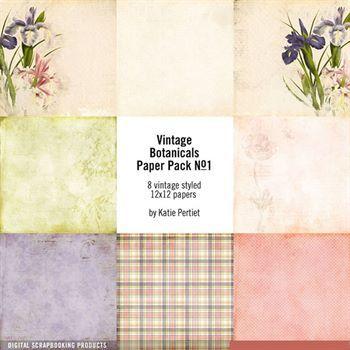 Vintage Botanicals Paper Pack No. 01 Digital Art - Digital Scrapbooking Kits