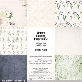 Vintage Botanist Paperie Paper Pack No. 02 Digital Art - Digital Scrapbooking Kits