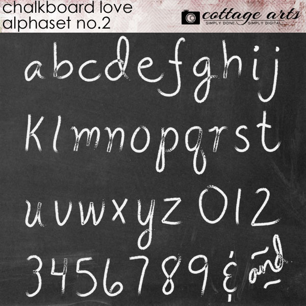 Chalkboard Love 2 AlphaSet Digital Art - Digital Scrapbooking Kits