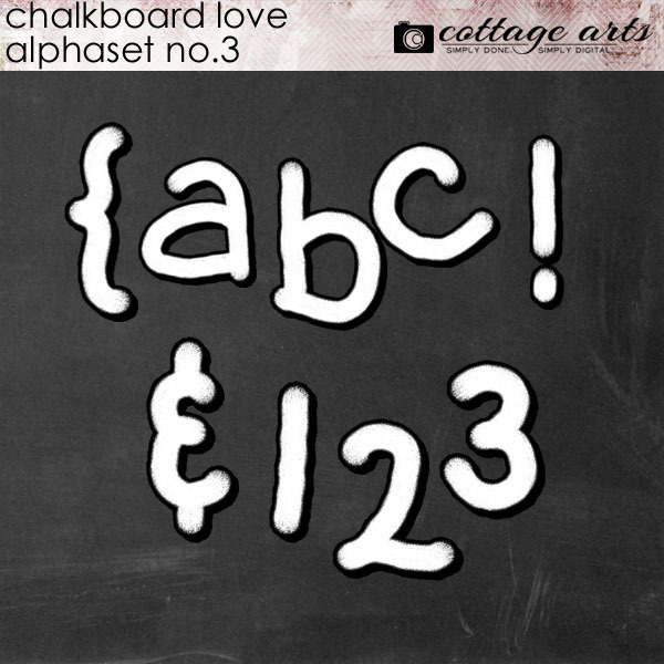 Chalkboard Love 3 AlphaSet Digital Art - Digital Scrapbooking Kits
