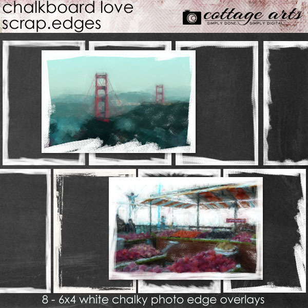 Chalkboard Love Scrap.Edges Digital Art - Digital Scrapbooking Kits