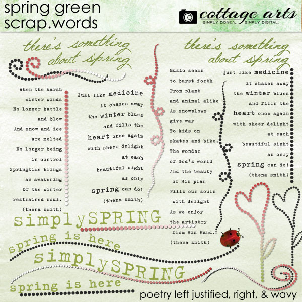 Spring Green Scrap.Words Digital Art - Digital Scrapbooking Kits
