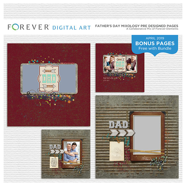 Father's Day Mixology Pre Designed Pages Digital Art - Digital Scrapbooking Kits