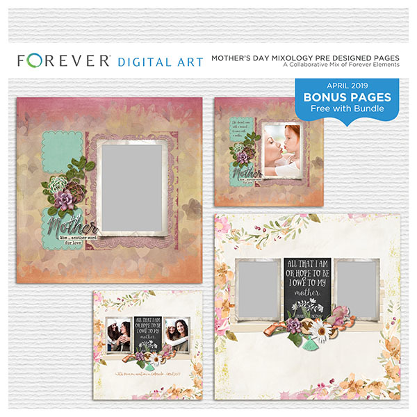 Mother's Day Mixology Pre Designed Pages Digital Art - Digital Scrapbooking Kits