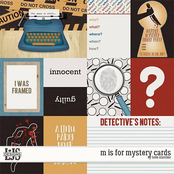 M Is For Mystery Cards 1 Digital Art - Digital Scrapbooking Kits