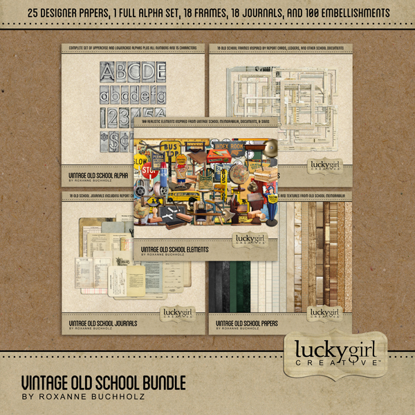 Vintage Old School Bundle Digital Art - Digital Scrapbooking Kits