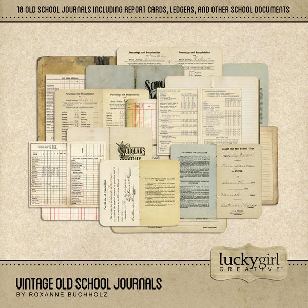 Vintage Old School Journals Digital Art - Digital Scrapbooking Kits