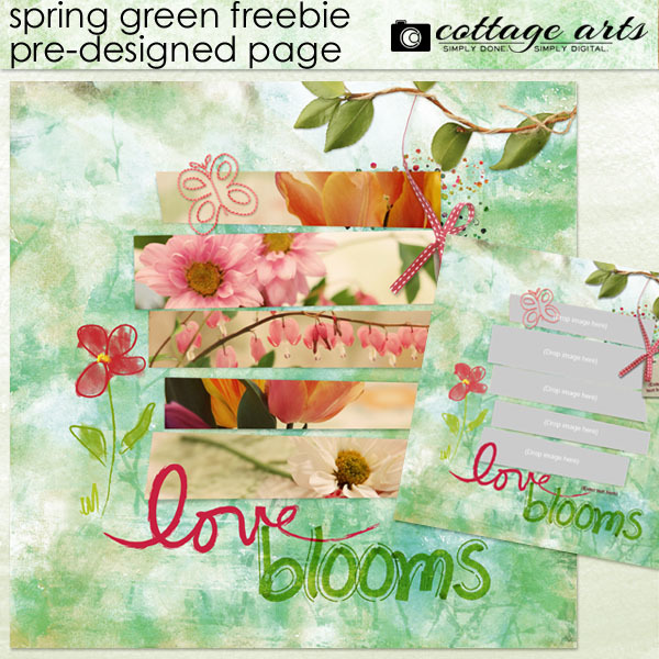 Spring Green Pre-designed Page Freebie Digital Art - Digital Scrapbooking Kits